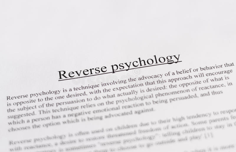 Reverse psychology - education or business concept. Pic stock image