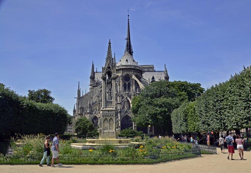The reverse side of Notre Dame de Paris stock images