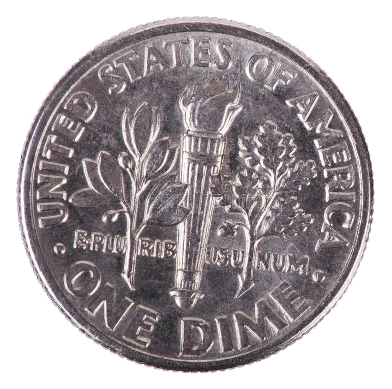 Isolated Dime - Tails Frontal. The reverse side of a USA 10 cents (Dime) coin, depicting design elements of a torch, olive branch, and oak branch, which royalty free stock photography