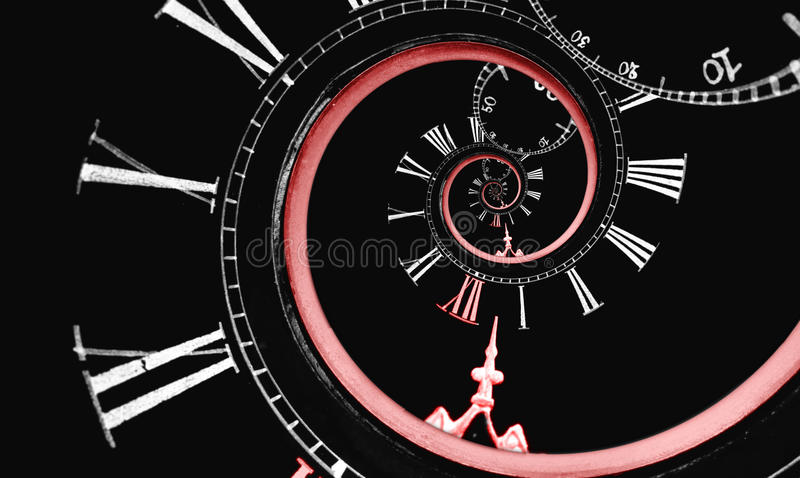 Reversed infinity time spiral. Looks like reversed infinity time spiral, digital generated image with red clock arrow and 12 number stock images