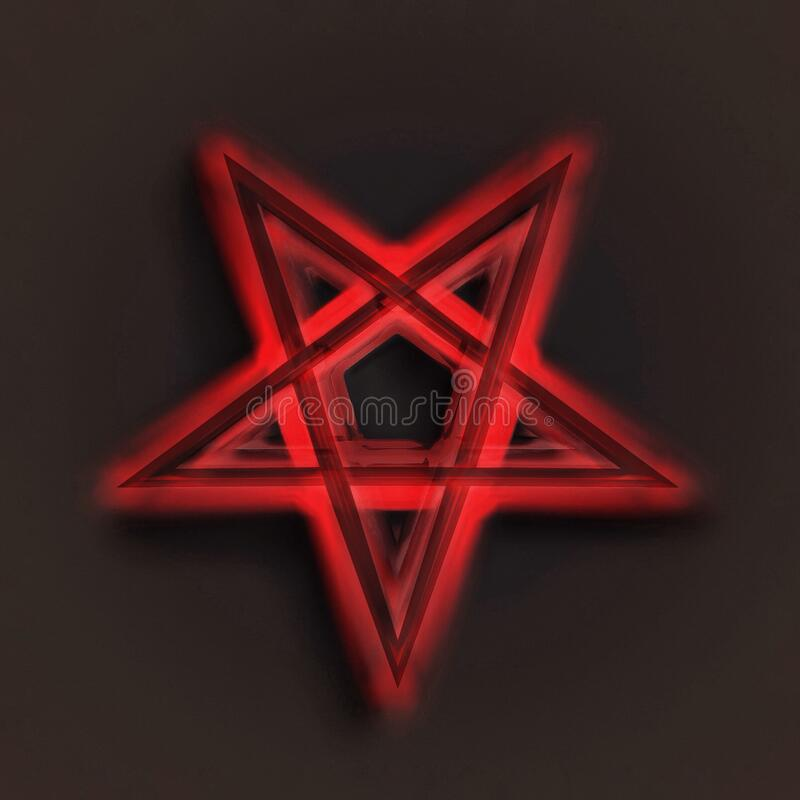Reversed Pentagram symbol. Wiccan symbols- Cross of Sulfur. Blood red runic spell circle. Satanic sign, Magic casting ring. stock illustration