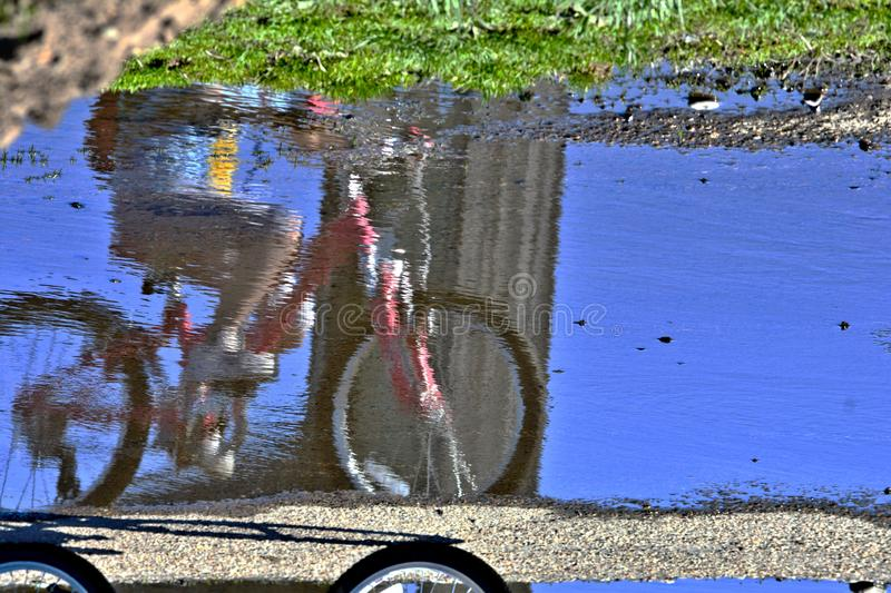 Bike reflection in a rain puddle stock images