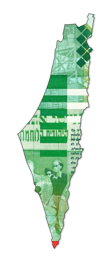 reverso novo israelita da cédula do shekel 20 na forma de Israel foto de stock royalty free