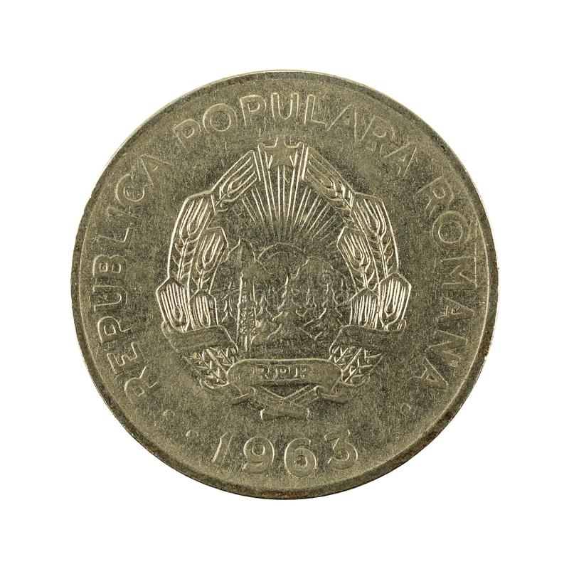 1 reverso romeno da moeda 1963 do leu isolado no fundo branco imagem de stock royalty free