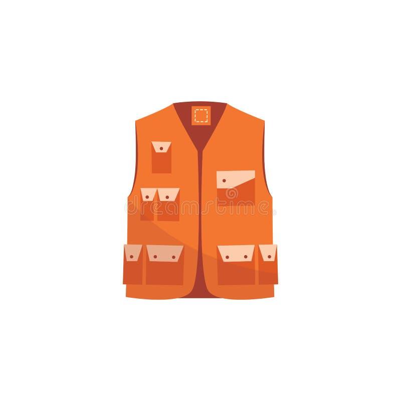 Revestimento alaranjado da segurança, veste uniforme do trabalho reflexivo para a visibilidade do trabalhador ilustração do vetor