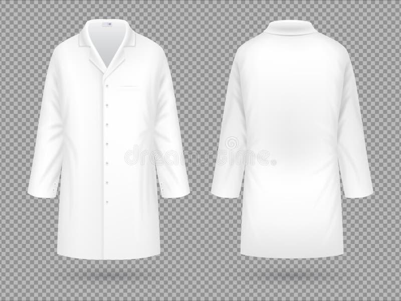 Revestimento branco realístico do laboratório médico, molde profissional do vetor do terno do hospital isolado ilustração royalty free