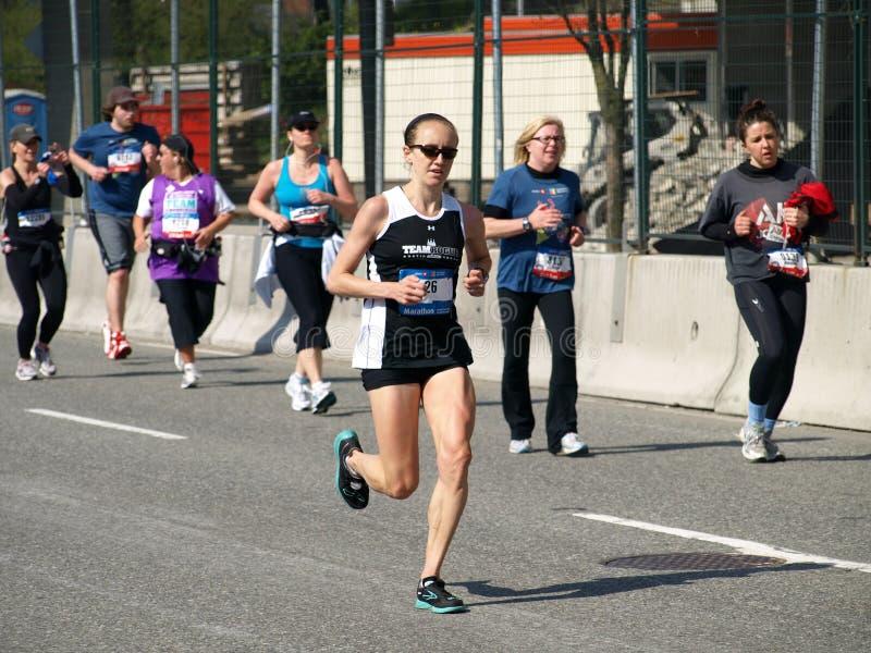 Revestimento da maratona de Vancôver fotos de stock