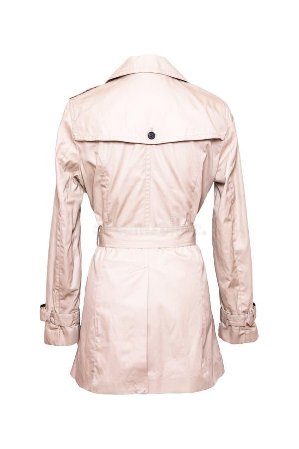 Revestimento da mulher isolado Um trenchcoat bege fêmea elegante luxuoso e à moda no manequim isolado em um fundo branco Mola imagens de stock