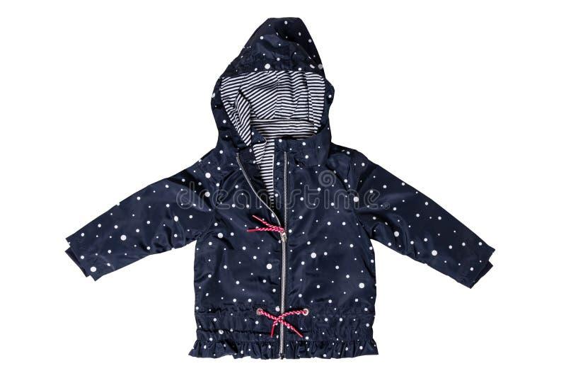 Revestimento das crianças isolado Uma obscuridade elegante à moda - casaco azul com pontos brancos e forro listrado branco azul p imagens de stock royalty free