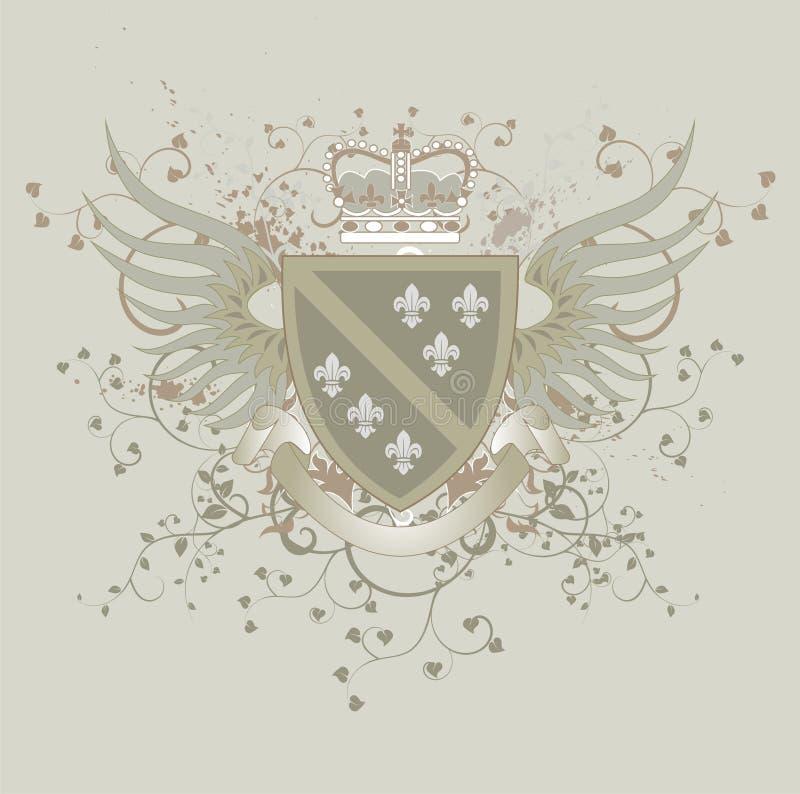Revestimento de Grunge de braços com flor de lis ilustração do vetor