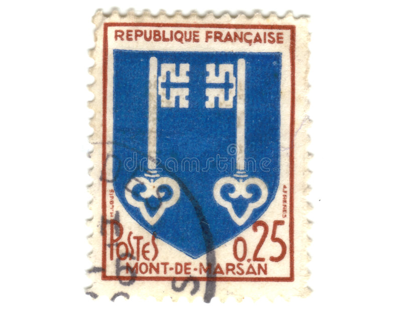 Revestimento de Mont de Marsan Cidade do selo de porte postal dos braços fotos de stock royalty free