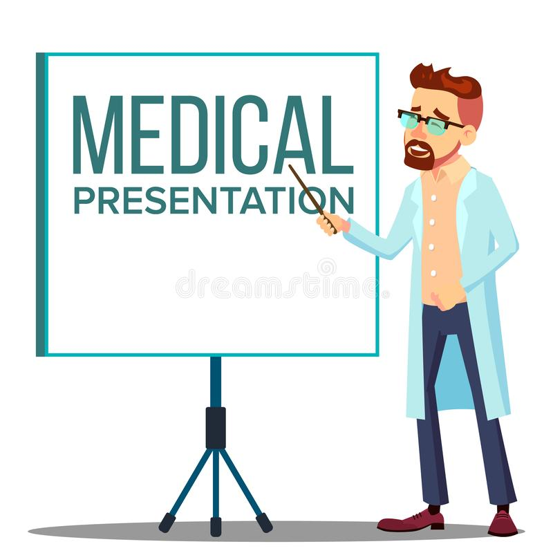 Revestimento do doutor Man In White perto de encontrar a tela do projetor, vetor médico da apresentação Ilustração isolada dos de ilustração stock