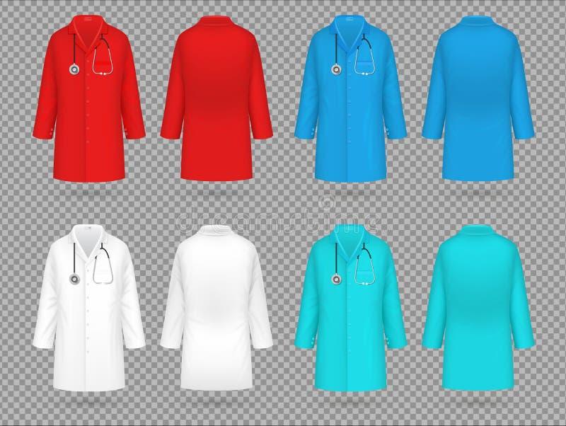 Revestimento do doutor Uniforme colorido do laboratório, modelos isolados realísticos médicos do vetor 3d da roupa do laboratório ilustração royalty free