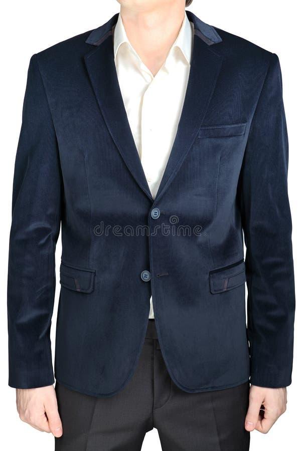 Revestimento do terno do noivo do casamento do blazer de veludo, azul marinho, no branco imagem de stock