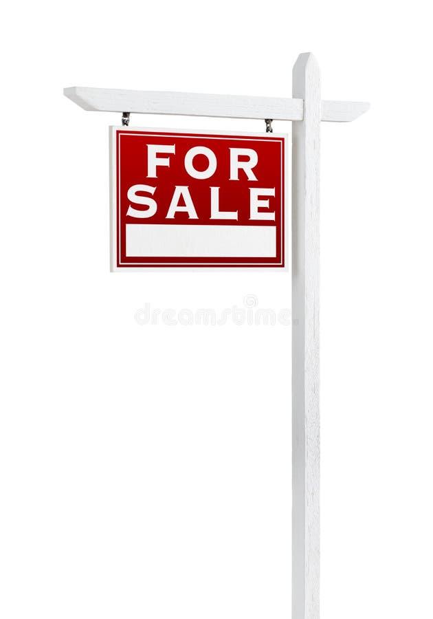 Revestimento esquerdo para o sinal de Real Estate da venda isolado no branco fotos de stock