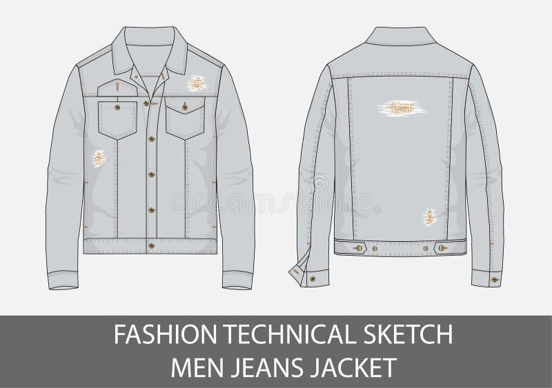 Revestimento técnico das calças de brim dos homens do esboço da forma ilustração stock