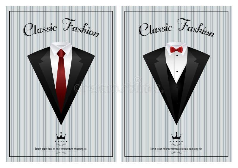 Revestimentos do ` s dos homens Ternos com laço e uma gravata ilustração do vetor