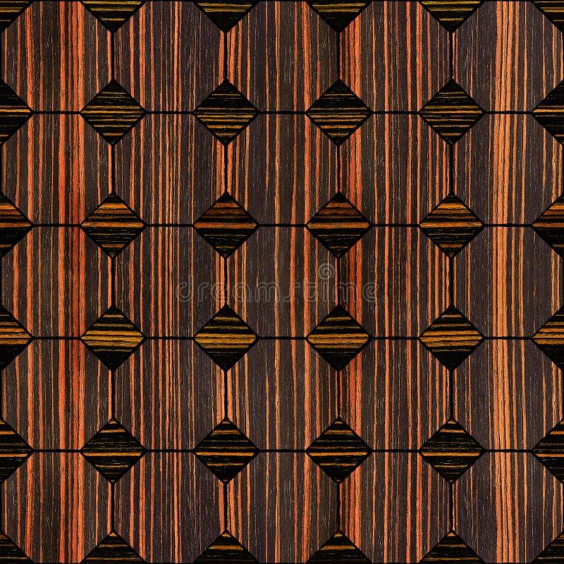 Revestimiento de madera decorativo abstracto - fondo inconsútil - madera del ébano stock de ilustración