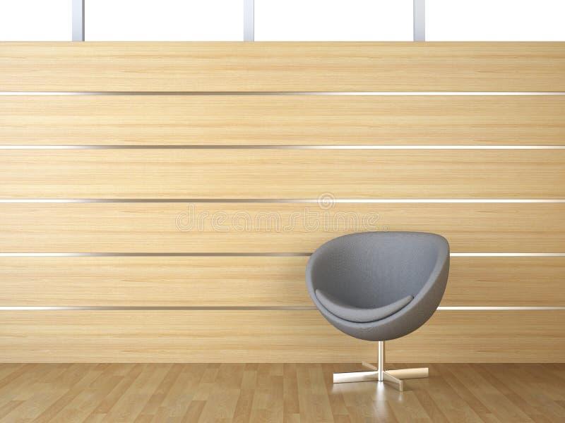 Revestimiento de madera y silla del diseño interior foto de archivo