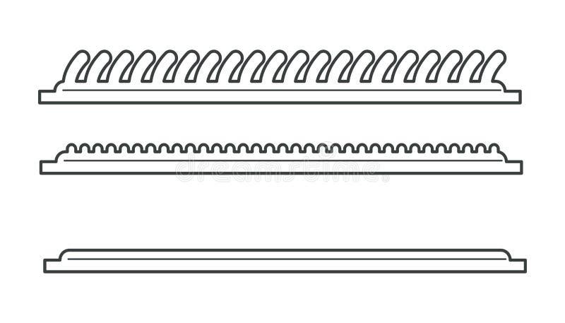 Revestimiento del suelo, pelos de alfombra o fibras de alfombra, estructura de estera stock de ilustración