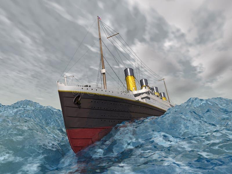 Revestimiento marino en el océano tempestuoso ilustración del vector