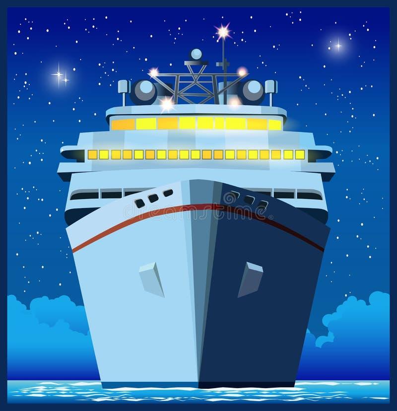 Revestimiento marino en la noche stock de ilustración