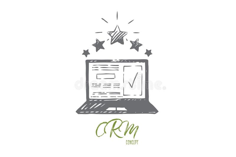 Review, check, rating, vote, opinion concept. Hand drawn isolated vector. vector illustration