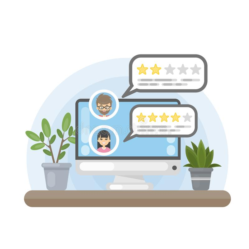 Review on computer. Rating with the stars royalty free illustration