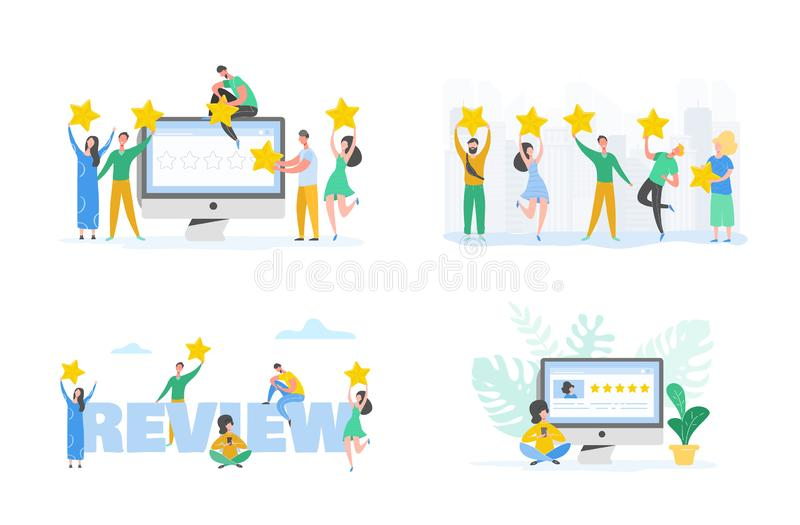 Review concept illustration. Woman character writing good feedback with gold stars. Customer rate services and user experience vector illustration