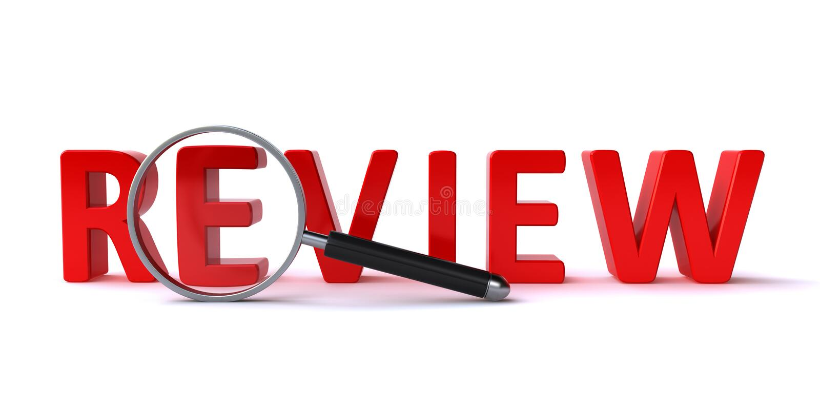 Review concept. With a magnify glass and 3d review text on the white background vector illustration
