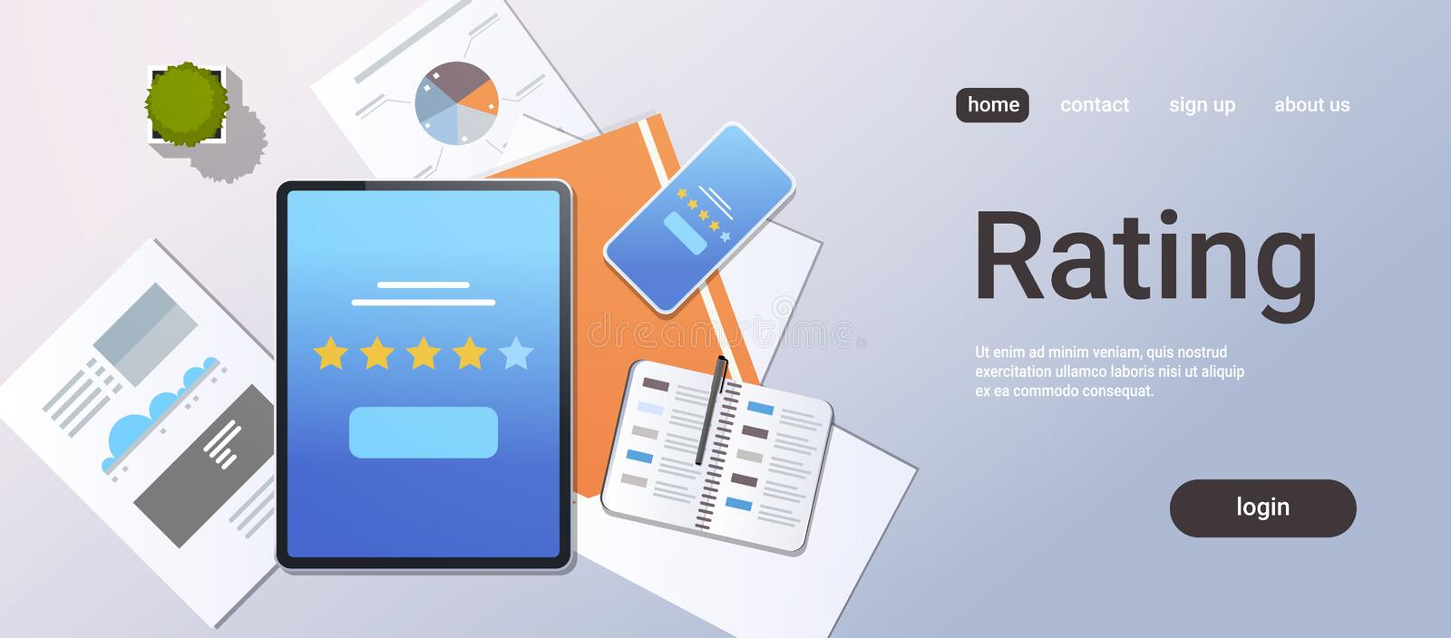 Review five star rate feedback rating concept top angle view desktop tablet smartphone screen analysis infographic. Report office stuff horizontal copy space stock illustration