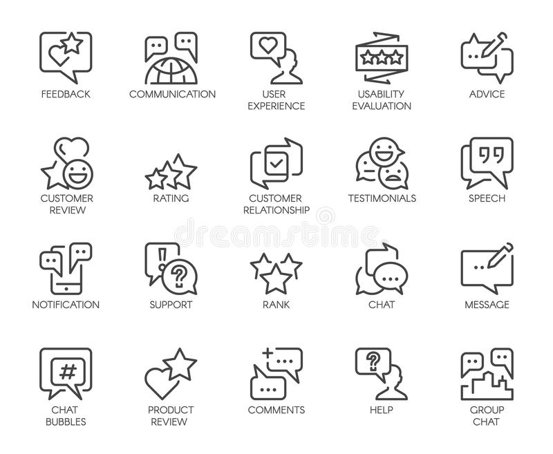 Review 20 line icons isolated. Comments or message chat bubbles, usability evaluation, communication, rating signs vector illustration