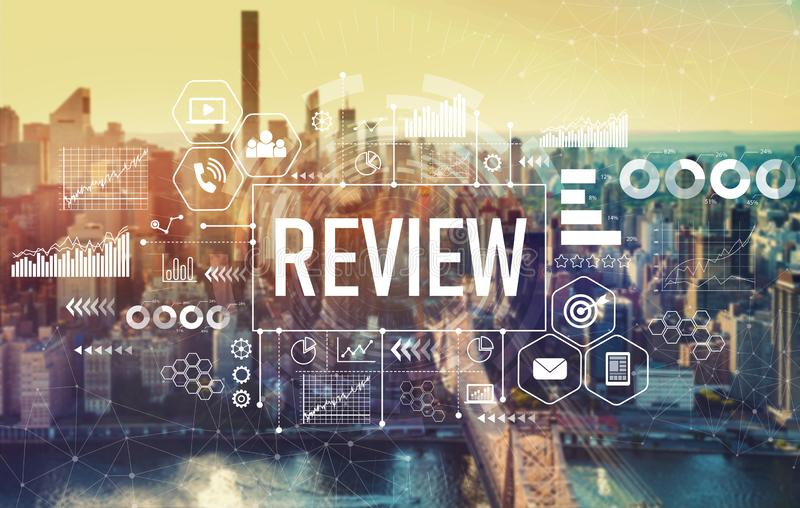 Review with New York City. Review with the New York City skyline near midtown stock image