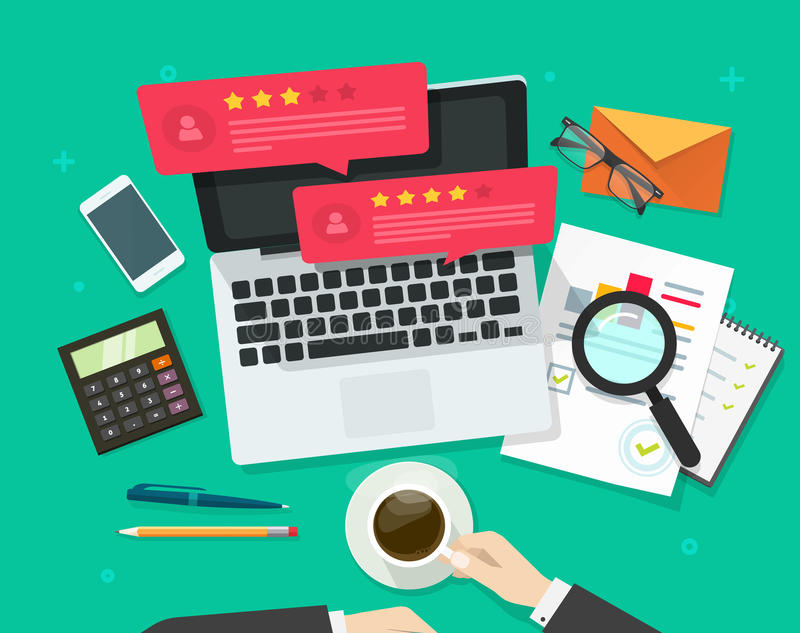 Review rating bubble speeches on computer vector illustration, flat style laptop reviews stars good, bad rate, concept. Review rating bubble speeches on computer royalty free illustration