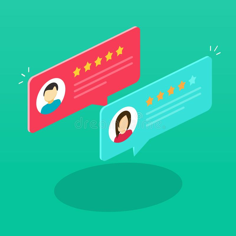 Review rating bubble speeches isometric vector illustration, flat cartoon reviews communication, concept of testimonial. Messages, notification alerts, feedback vector illustration