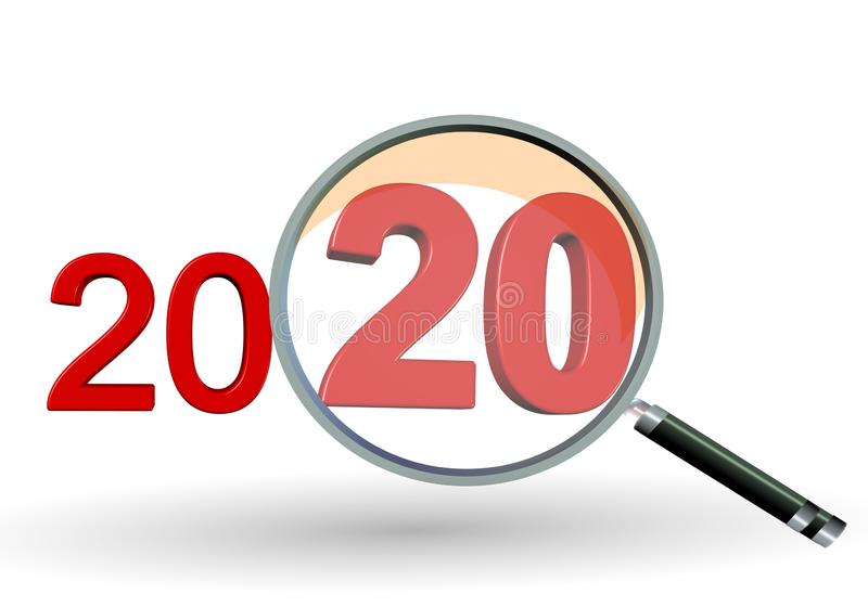 2020 review search focus results numbers red and zoom glass len - 3d rendering vector illustration