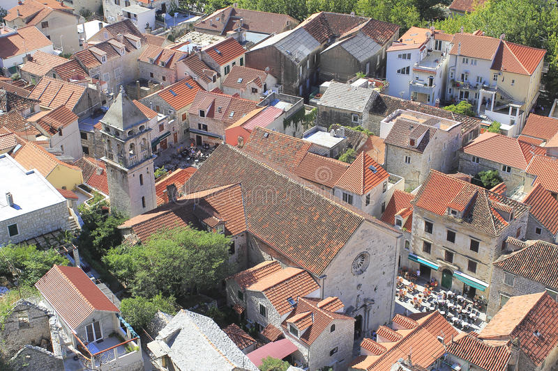 Review to old part of Omis in Croatia stock photo