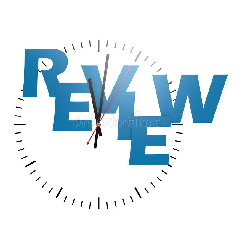 Review word with clock. Image with hi-res rendered artwork that could be used for any graphic design stock illustration