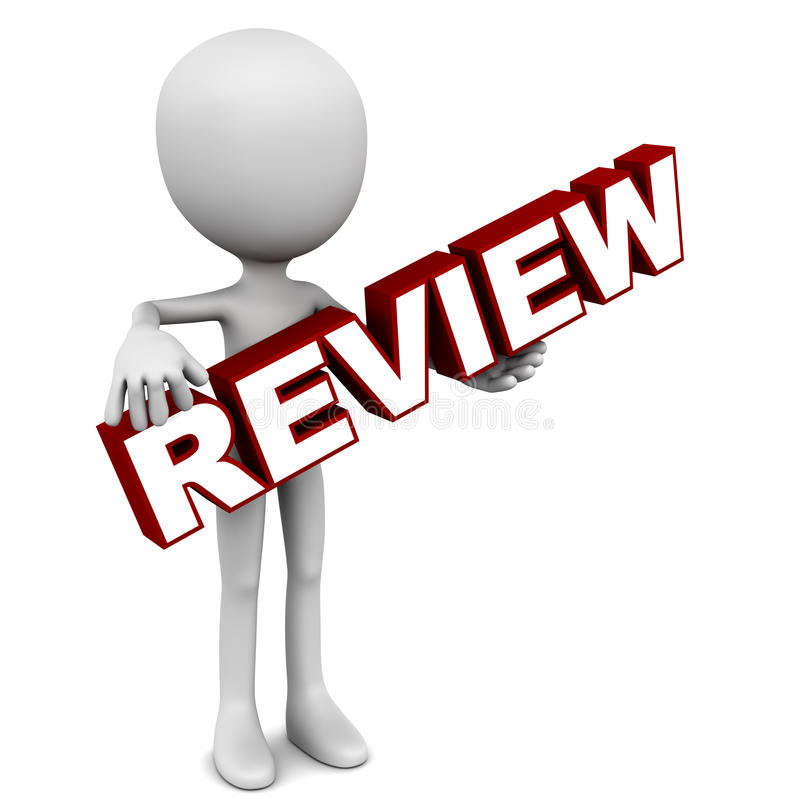 Review. Word in hands of a little 3d man. Concept of business, performance or quality vector illustration