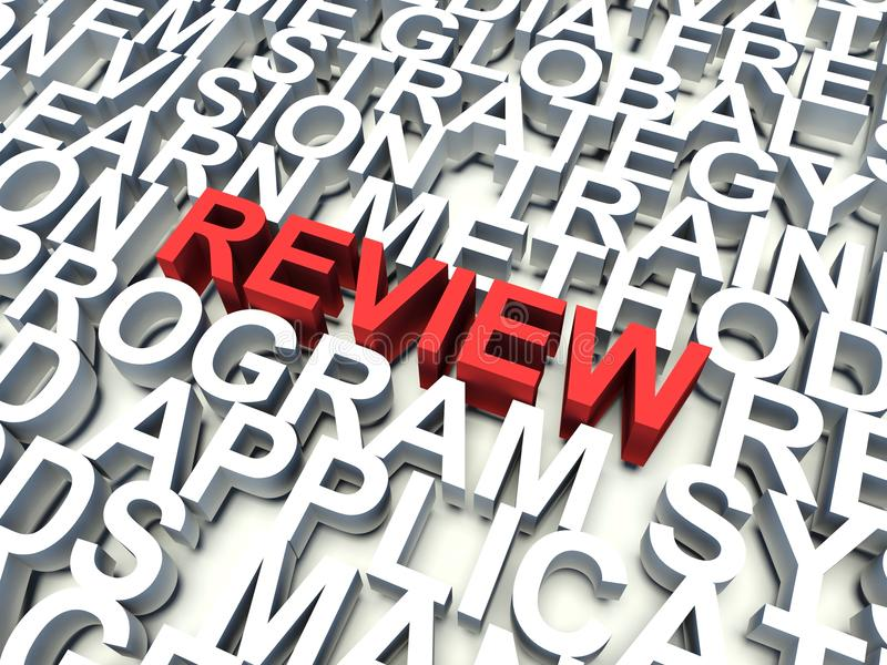Review. Word Review in red, salient among other related keywords concept in white. 3d render illustration vector illustration