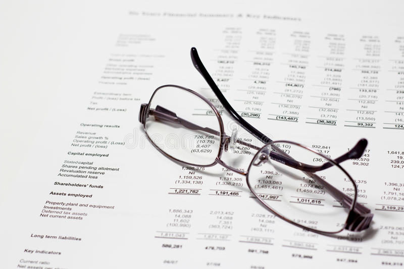 Reviewing accounts stock image