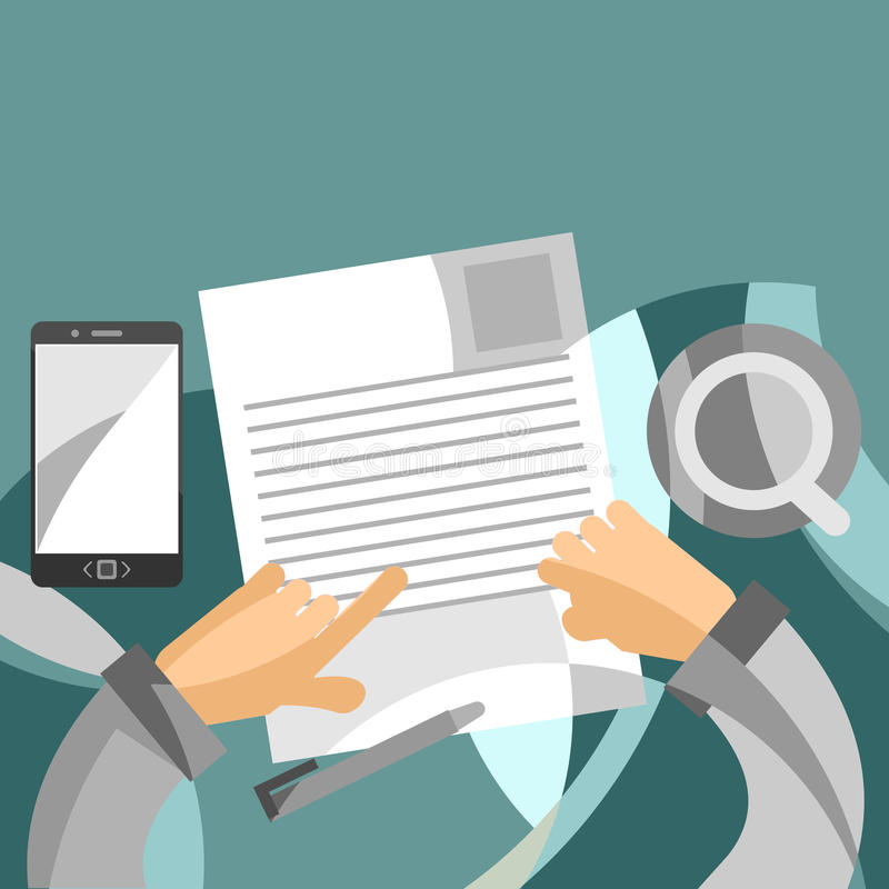 Reviewing business papers concept in flat style stock photos