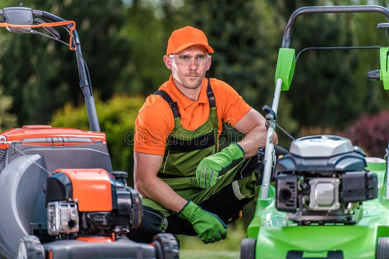 Reviewing Lawn Mowers stock photo