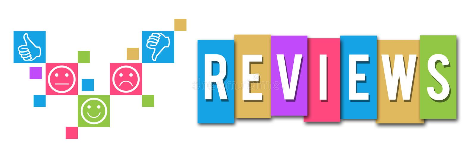 Reviews Colorful Elements Banner. Reviews concept image with text and conceptual elements vector illustration