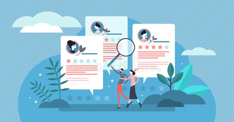 Reviews vector illustration. Tiny compared application form persons concept royalty free illustration