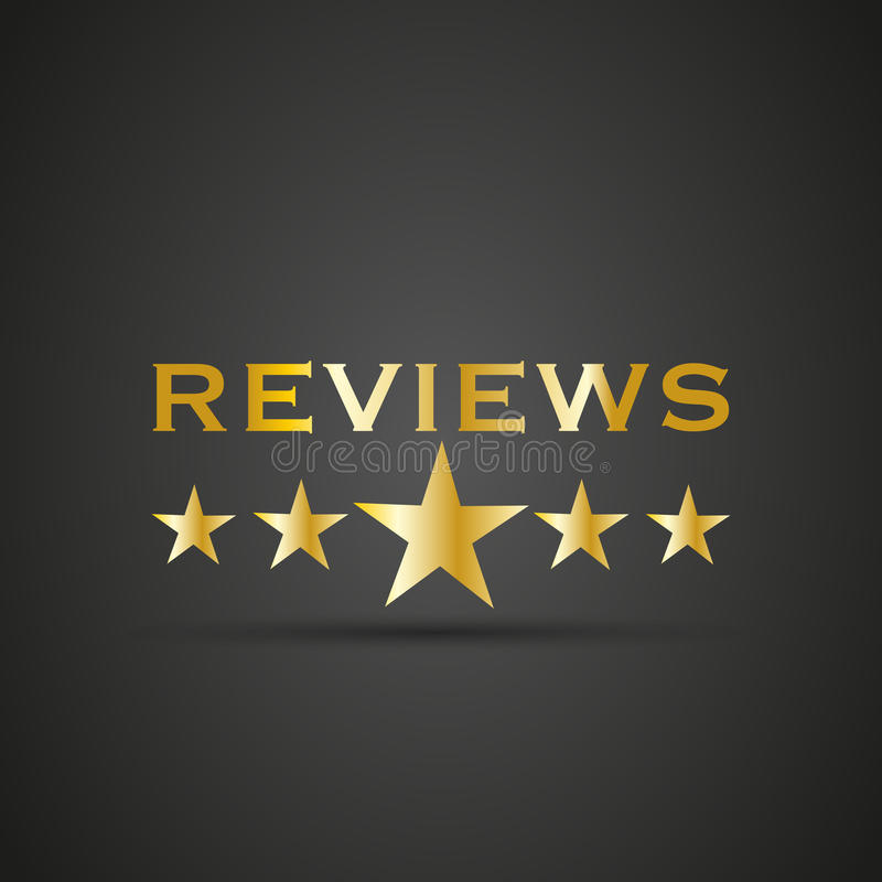 Reviews word with 5 star royalty free illustration