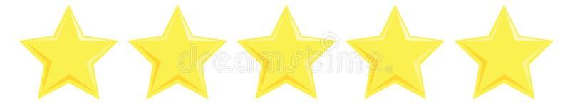 Revisão da classificação de produtos de cinco estrelas amarelas ilustração royalty free