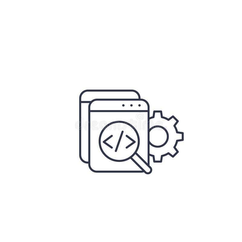 Revisão de código, software, linha ícone do desenvolvimento dos apps ilustração do vetor