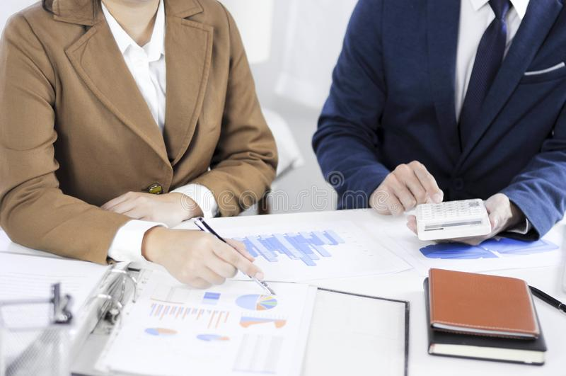 Revisão de encontro consultiva da gestão do investimento da administração do planeamento do contador fotografia de stock