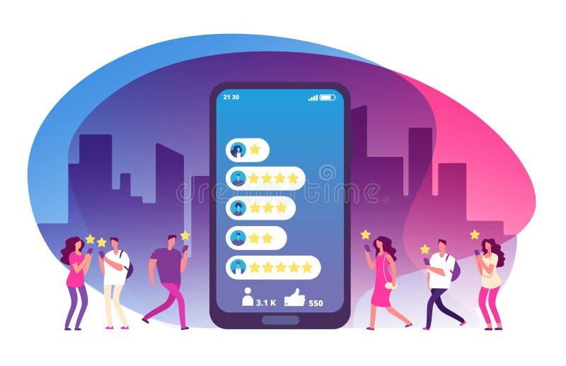 Revisão e feedback do cliente Cinco estrelas que avaliam na tela e nos clientes do smartphone Avaliação em linha, satisfação de c ilustração royalty free